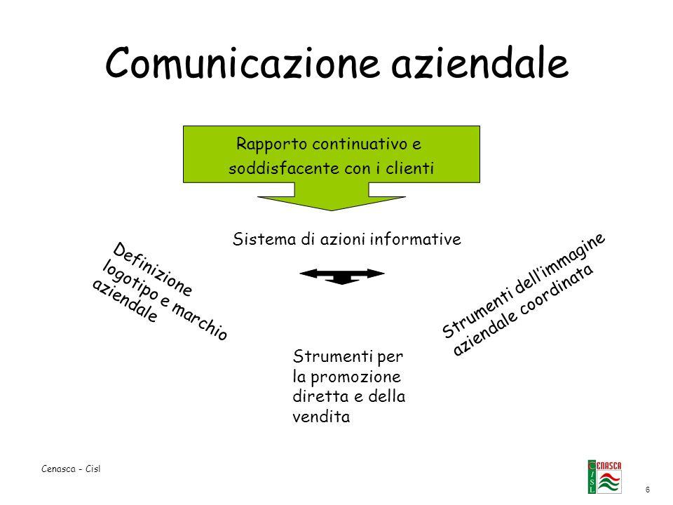 6 Cenasca - Cisl Comunicazione aziendale Rapporto continuativo e soddisfacente con i clienti Sistema di azioni informative Definizione logotipo e marc