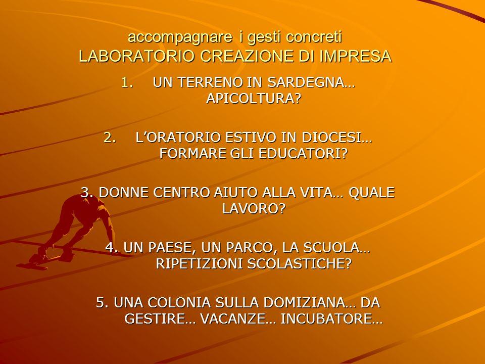 accompagnare i gesti concreti LABORATORIO CREAZIONE DI IMPRESA 1.UN TERRENO IN SARDEGNA… APICOLTURA.