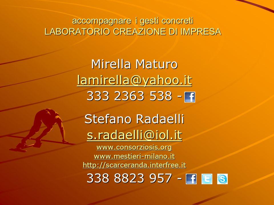 accompagnare i gesti concreti LABORATORIO CREAZIONE DI IMPRESA Mirella Maturo lamirella@yahoo.it 333 2363 538 - Stefano Radaelli s.radaelli@iol.it www.consorziosis.org www.mestieri-milano.it http://scarceranda.interfree.it 338 8823 957 -