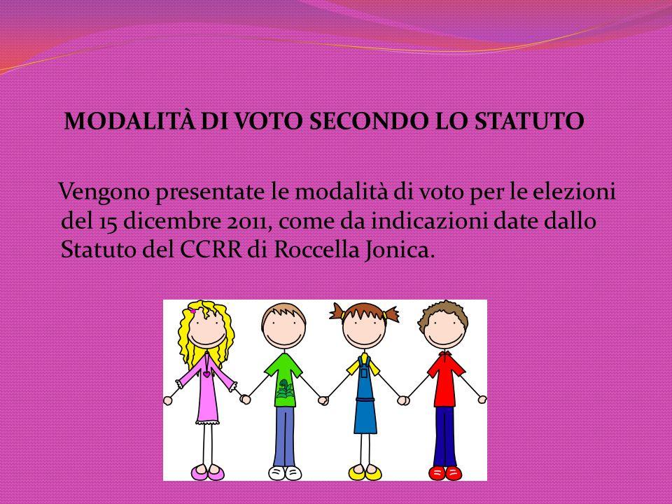 MODALITÀ DI VOTO SECONDO LO STATUTO Vengono presentate le modalità di voto per le elezioni del 15 dicembre 2011, come da indicazioni date dallo Statut