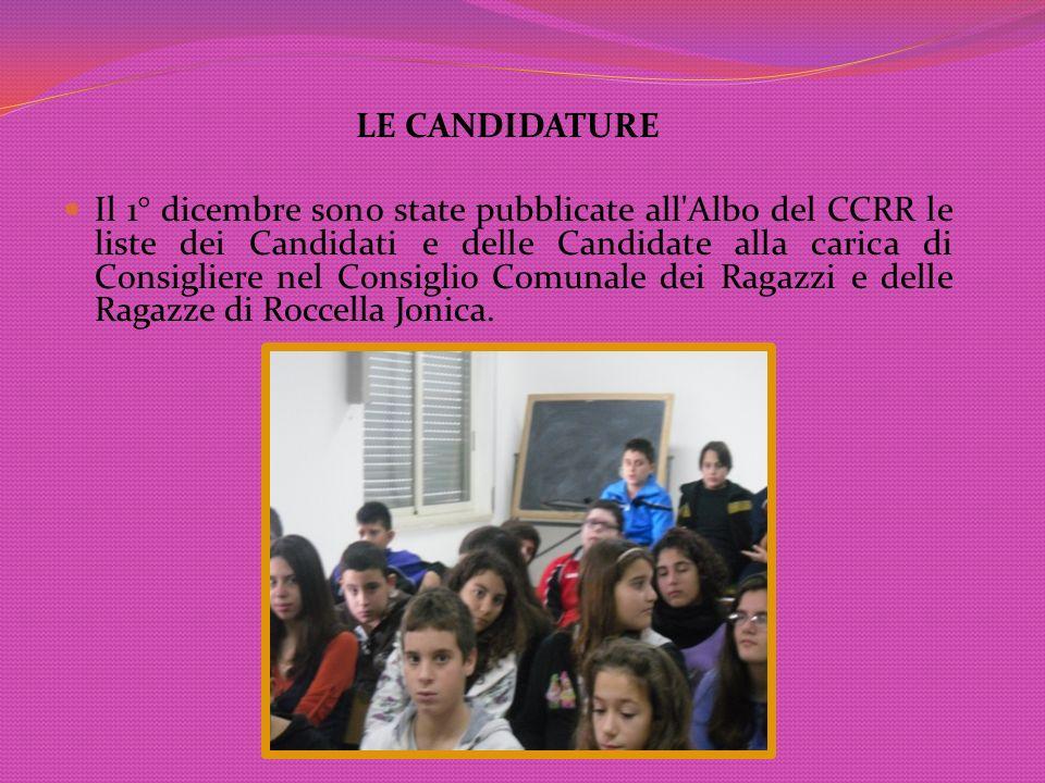 LE CANDIDATURE Il 1° dicembre sono state pubblicate all'Albo del CCRR le liste dei Candidati e delle Candidate alla carica di Consigliere nel Consigli