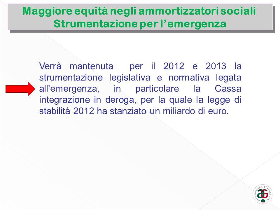 Maggiore equità negli ammortizzatori sociali Strumentazione per lemergenza Maggiore equità negli ammortizzatori sociali Strumentazione per lemergenza
