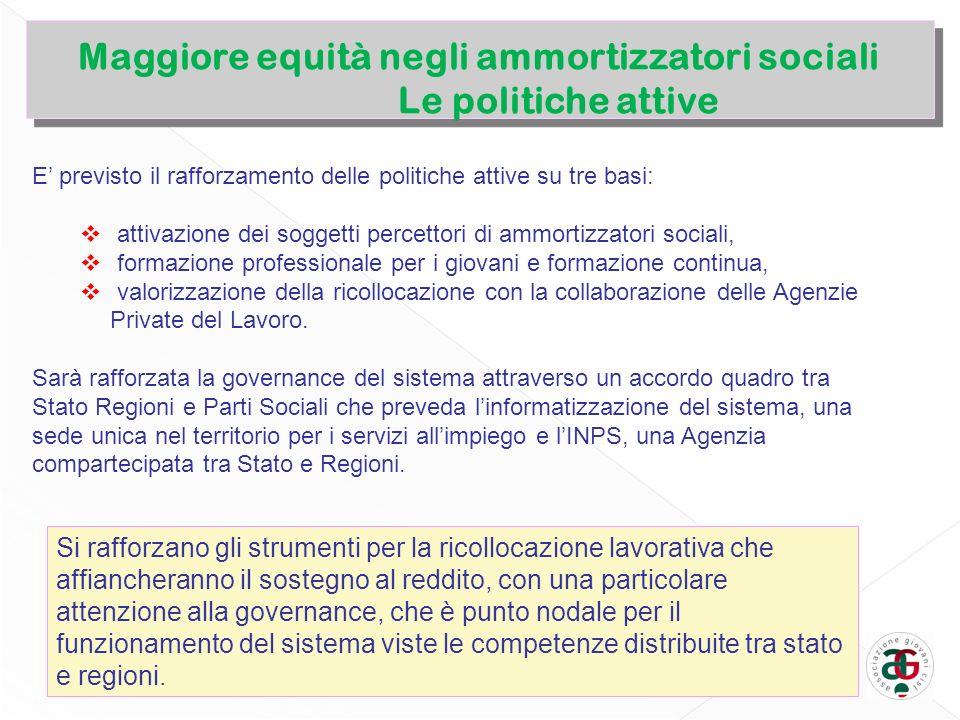 E previsto il rafforzamento delle politiche attive su tre basi: attivazione dei soggetti percettori di ammortizzatori sociali, formazione professional