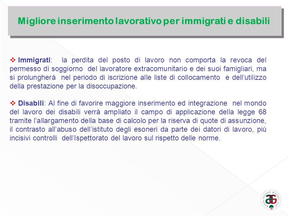 Immigrati: la perdita del posto di lavoro non comporta la revoca del permesso di soggiorno del lavoratore extracomunitario e dei suoi famigliari, ma si prolungherà nel periodo di iscrizione alle liste di collocamento e dellutilizzo della prestazione per la disoccupazione.