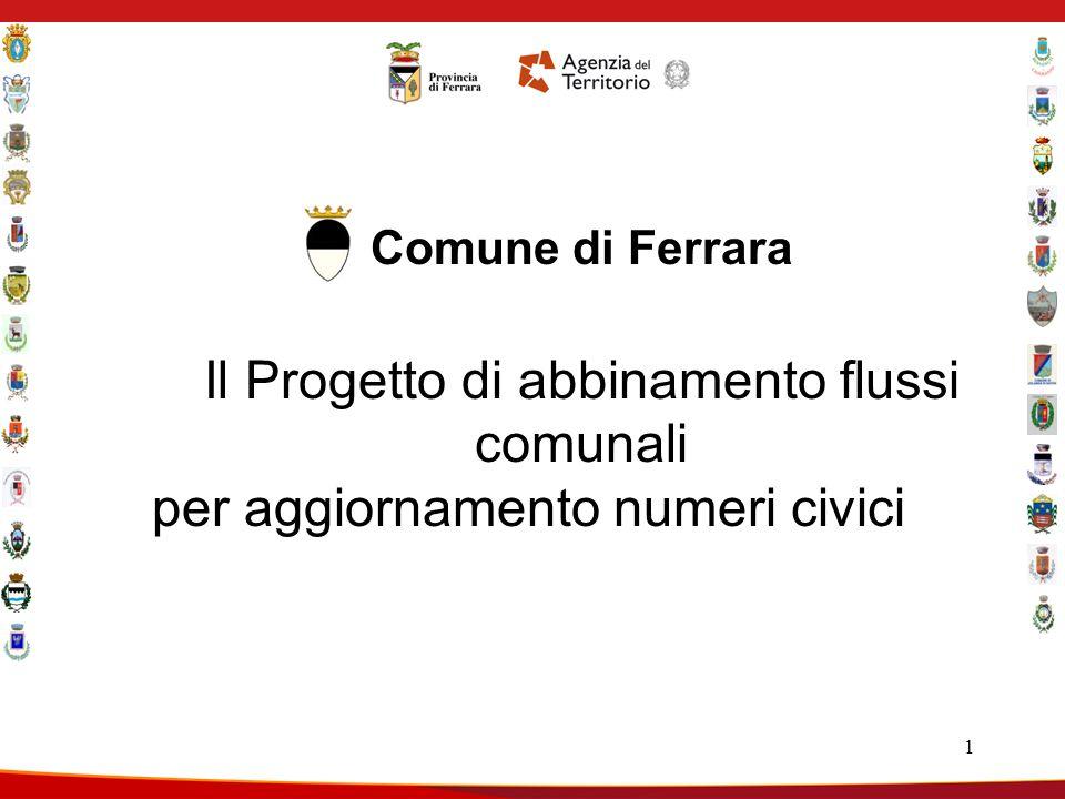1 Comune di Ferrara Il Progetto di abbinamento flussi comunali per aggiornamento numeri civici