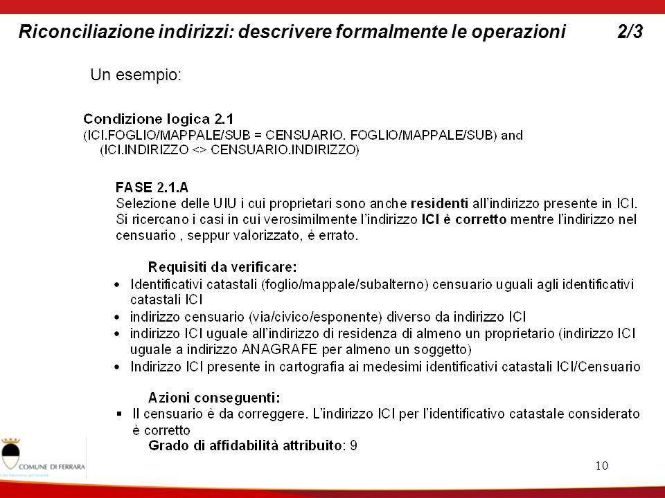 10 Riconciliazione indirizzi: descrivere formalmente le operazioni2/3 Un esempio: