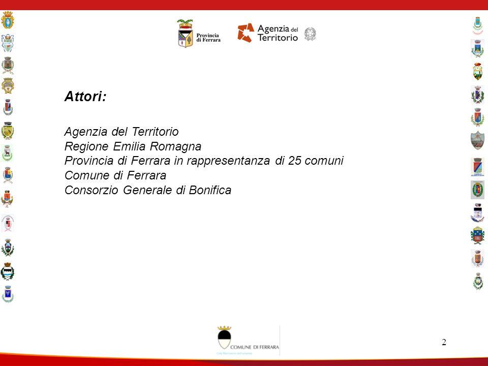 2 Attori: Agenzia del Territorio Regione Emilia Romagna Provincia di Ferrara in rappresentanza di 25 comuni Comune di Ferrara Consorzio Generale di Bonifica