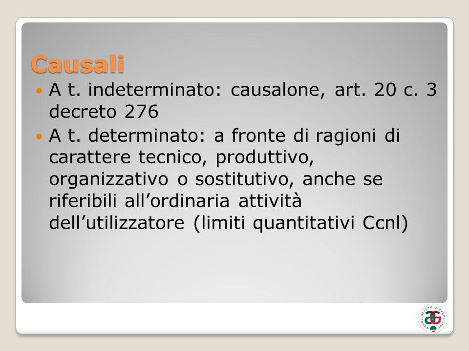 Causali A t. indeterminato: causalone, art. 20 c. 3 decreto 276 A t. determinato: a fronte di ragioni di carattere tecnico, produttivo, organizzativo