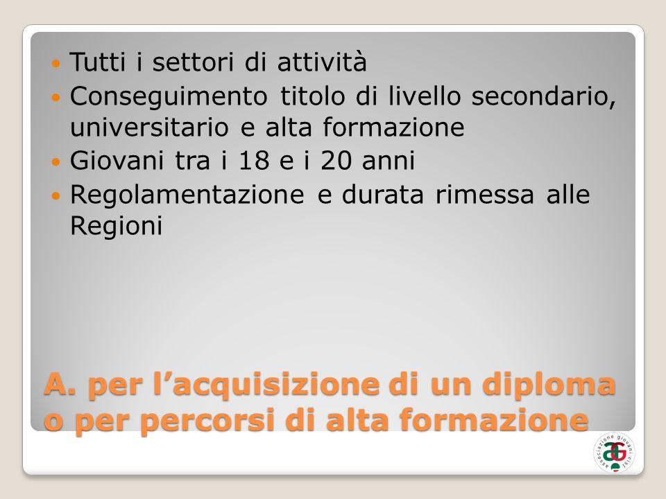A. per lacquisizione di un diploma o per percorsi di alta formazione Tutti i settori di attività Conseguimento titolo di livello secondario, universit