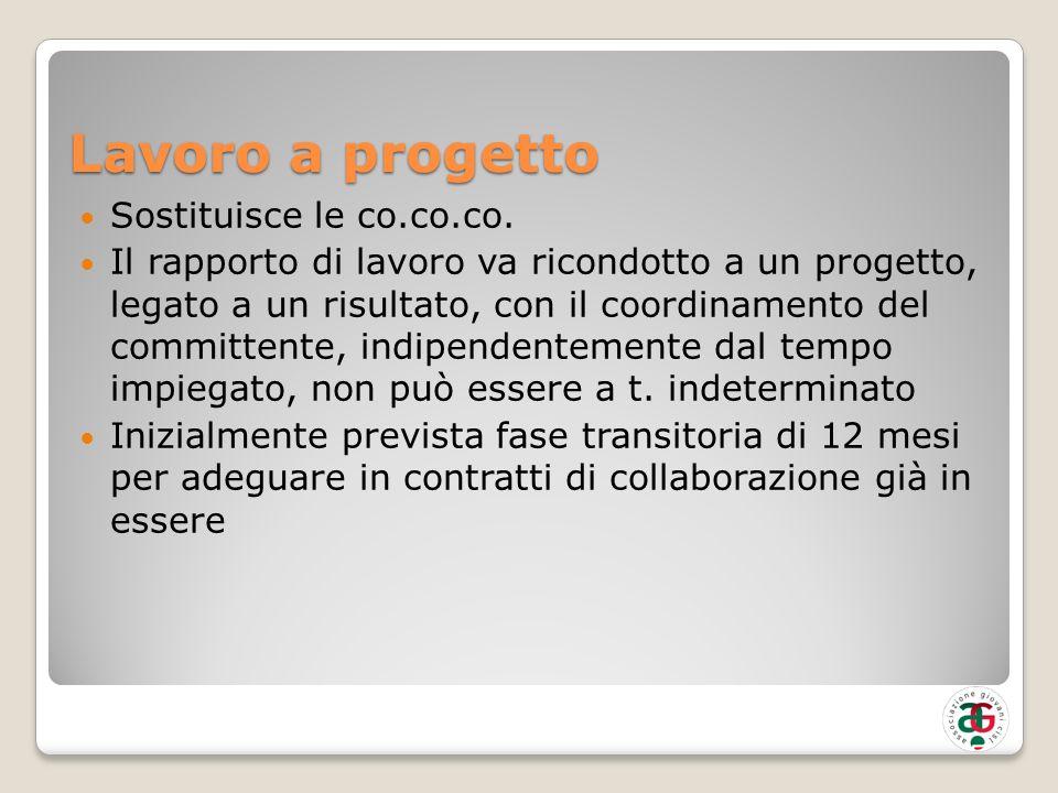Lavoro a progetto Sostituisce le co.co.co.