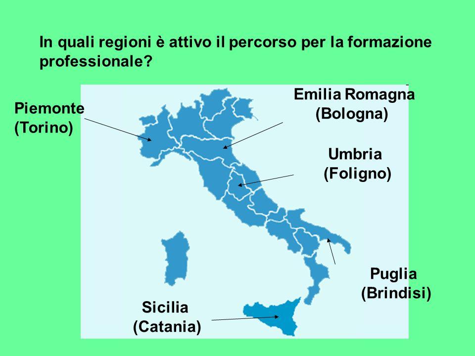 In quali regioni è attivo il percorso per la formazione professionale? Piemonte (Torino) Emilia Romagna (Bologna) Umbria (Foligno) Puglia (Brindisi) S