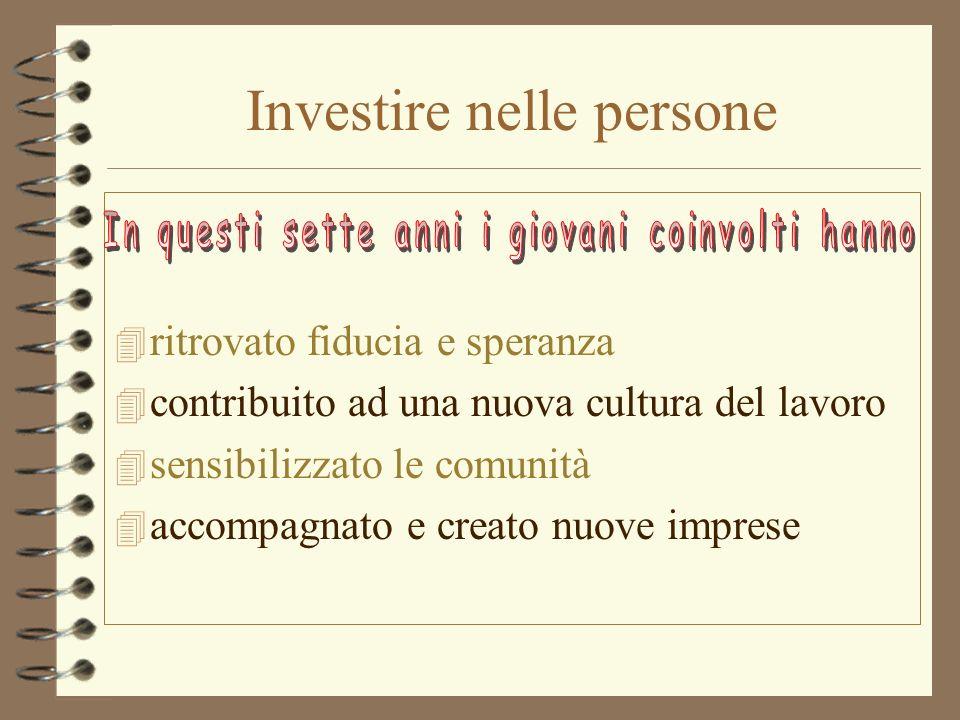 Investire nelle persone 4 ritrovato fiducia e speranza 4 contribuito ad una nuova cultura del lavoro 4 sensibilizzato le comunità 4 accompagnato e creato nuove imprese