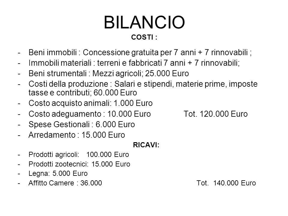 BILANCIO COSTI : -Beni immobili : Concessione gratuita per 7 anni + 7 rinnovabili ; -Immobili materiali : terreni e fabbricati 7 anni + 7 rinnovabili; -Beni strumentali : Mezzi agricoli; 25.000 Euro -Costi della produzione : Salari e stipendi, materie prime, imposte tasse e contributi; 60.000 Euro -Costo acquisto animali: 1.000 Euro -Costo adeguamento : 10.000 Euro Tot.