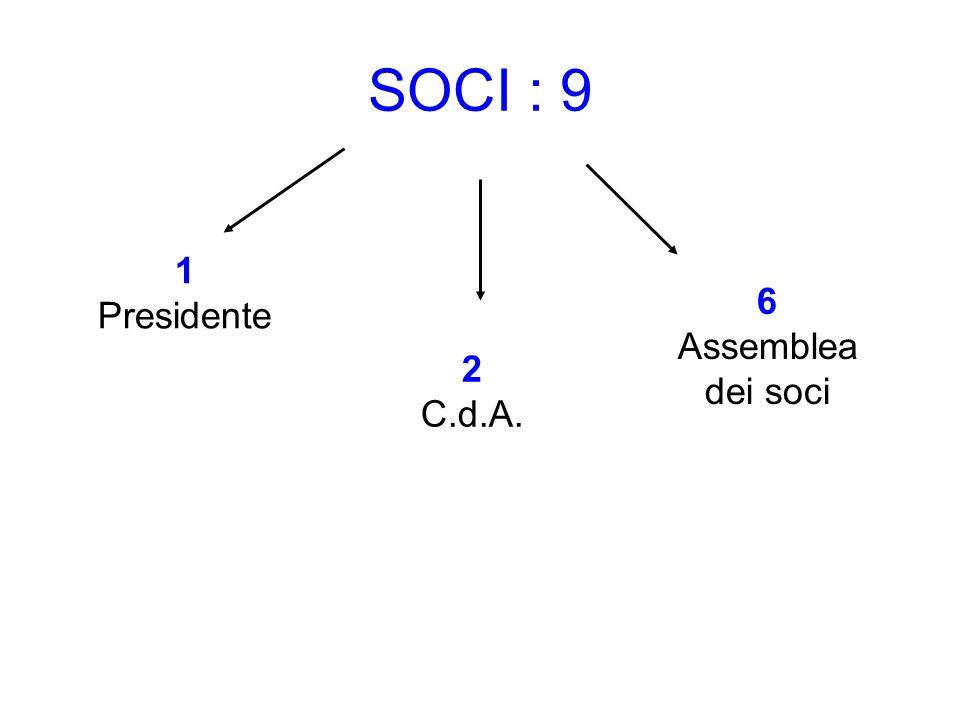 SOCI : 9 1 Presidente 2 C.d.A. 6 Assemblea dei soci