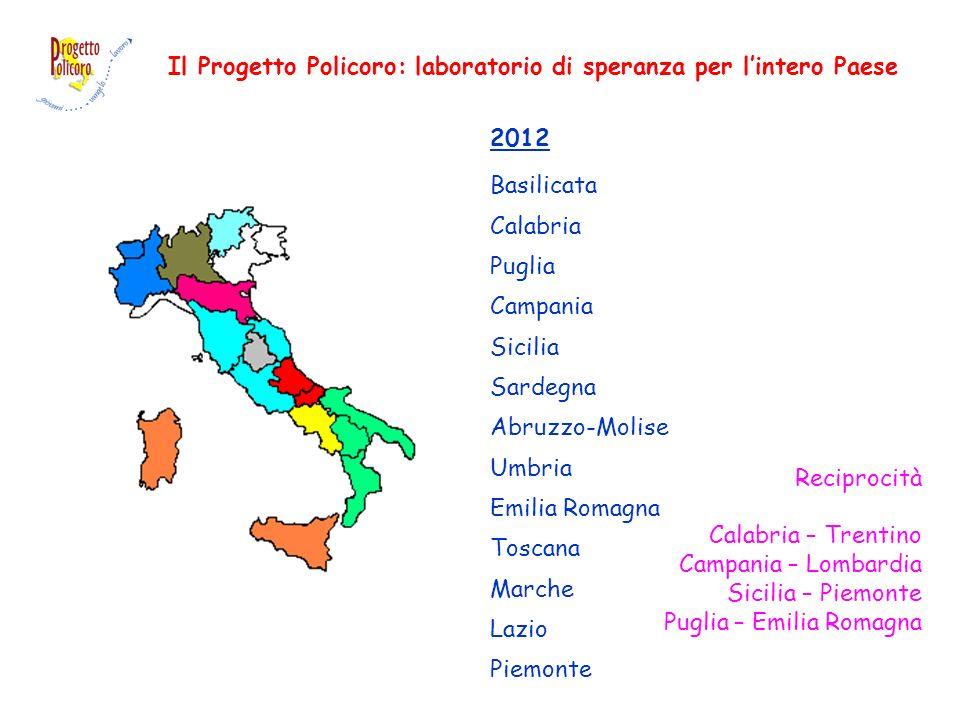 Il Progetto Policoro: laboratorio di speranza per lintero Paese 2012 Basilicata Calabria Puglia Campania Sicilia Sardegna Abruzzo-Molise Umbria Emilia