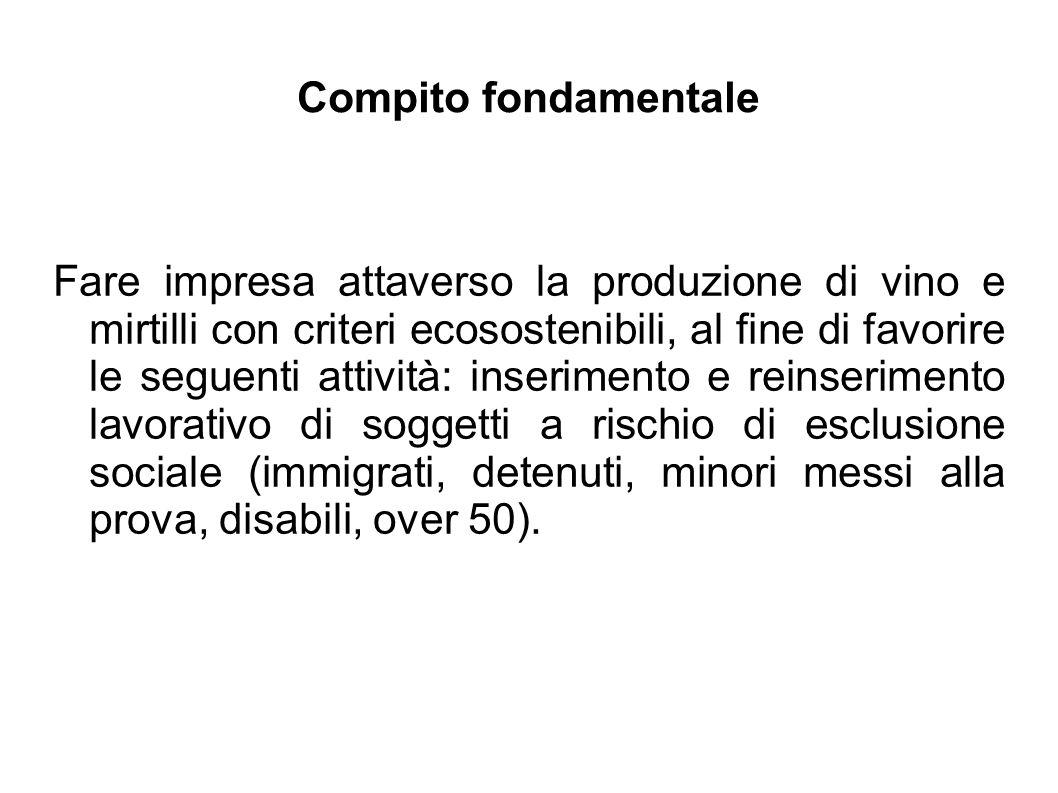 Compito fondamentale Fare impresa attaverso la produzione di vino e mirtilli con criteri ecosostenibili, al fine di favorire le seguenti attività: ins