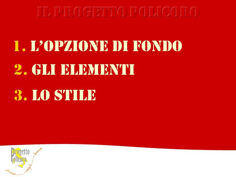 2. GLI ELEMENTI 1. LOPZIONE DI FONDO 3. LO STILE
