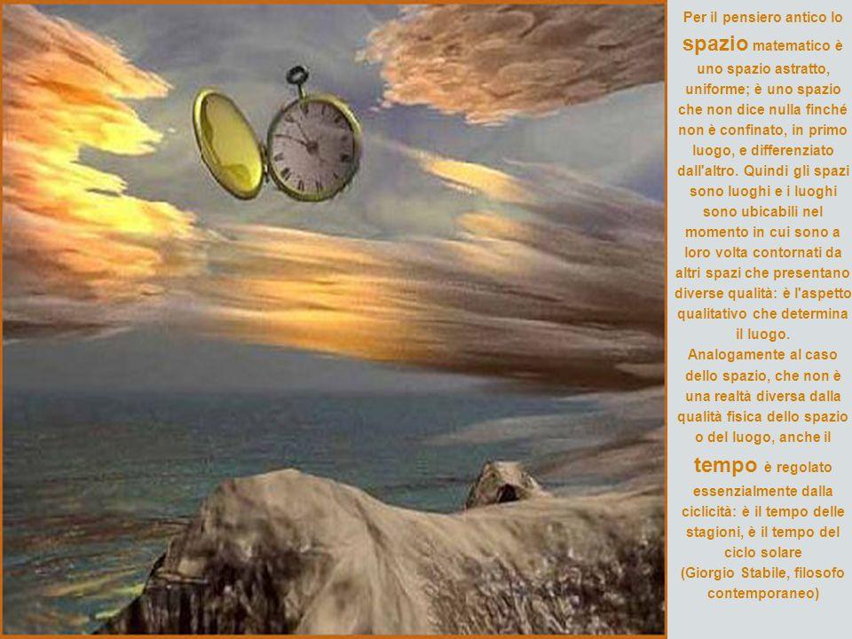 Per il pensiero antico lo spazio matematico è uno spazio astratto, uniforme; è uno spazio che non dice nulla finché non è confinato, in primo luogo, e