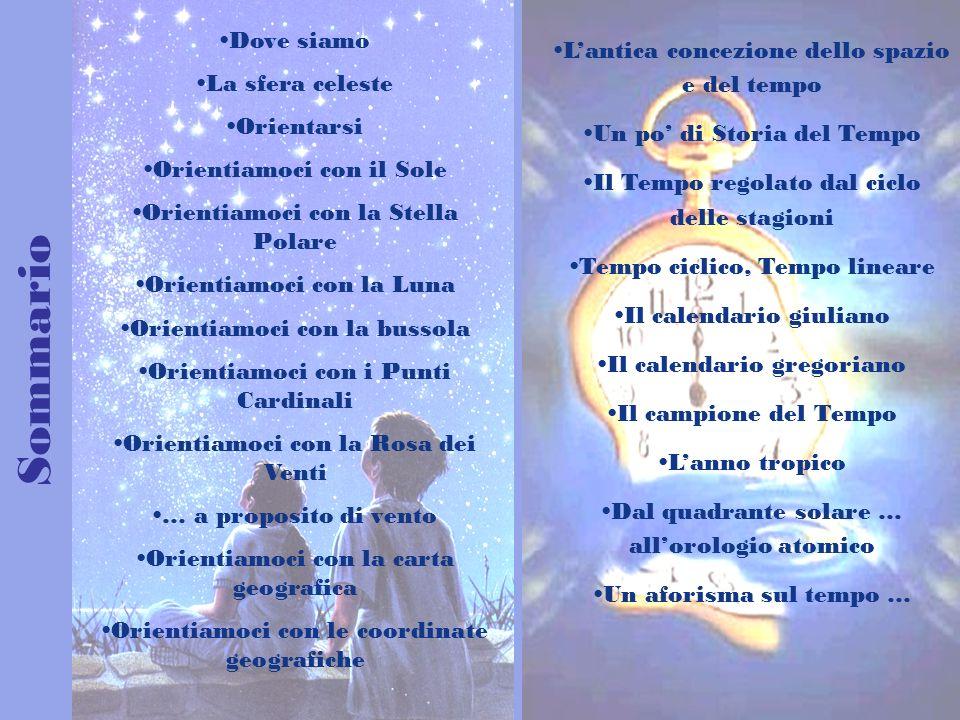 Sommario Dove siamo La sfera celeste Orientarsi Orientiamoci con il Sole Orientiamoci con la Stella Polare Orientiamoci con la Luna Orientiamoci con l