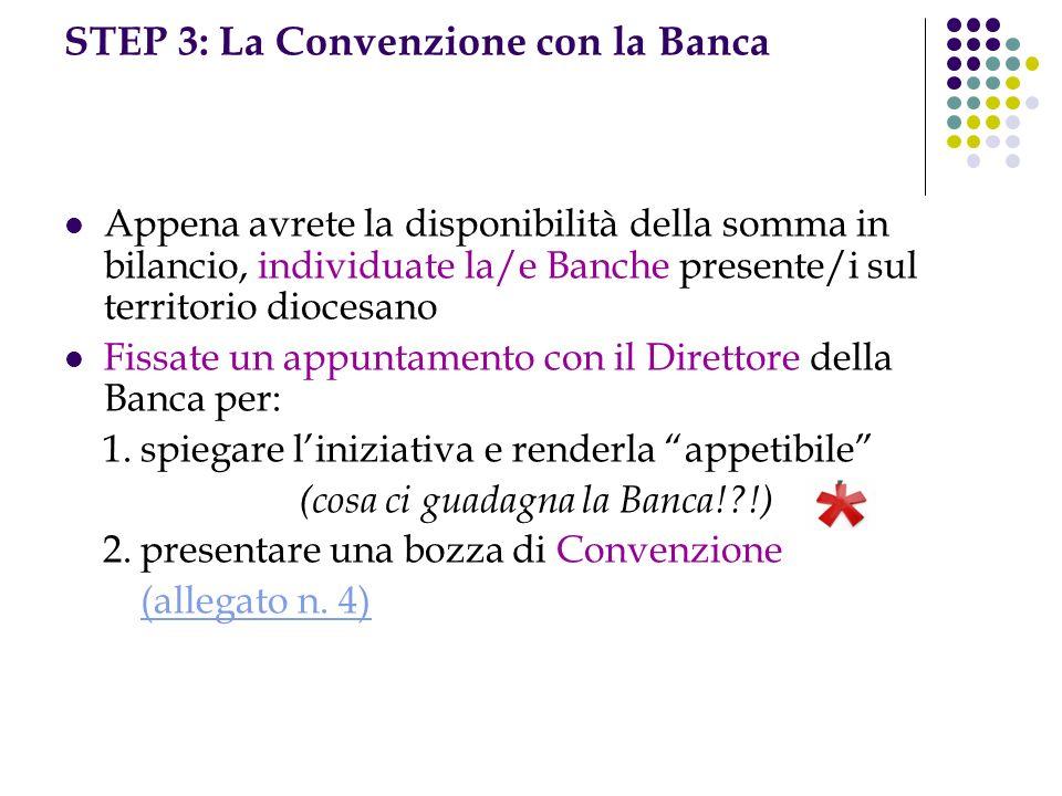 STEP 3: La Convenzione con la Banca Appena avrete la disponibilità della somma in bilancio, individuate la/e Banche presente/i sul territorio diocesano Fissate un appuntamento con il Direttore della Banca per: 1.
