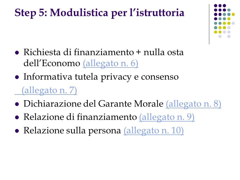 Step 5: Modulistica per listruttoria Richiesta di finanziamento + nulla osta dellEconomo (allegato n. 6)(allegato n. 6) Informativa tutela privacy e c