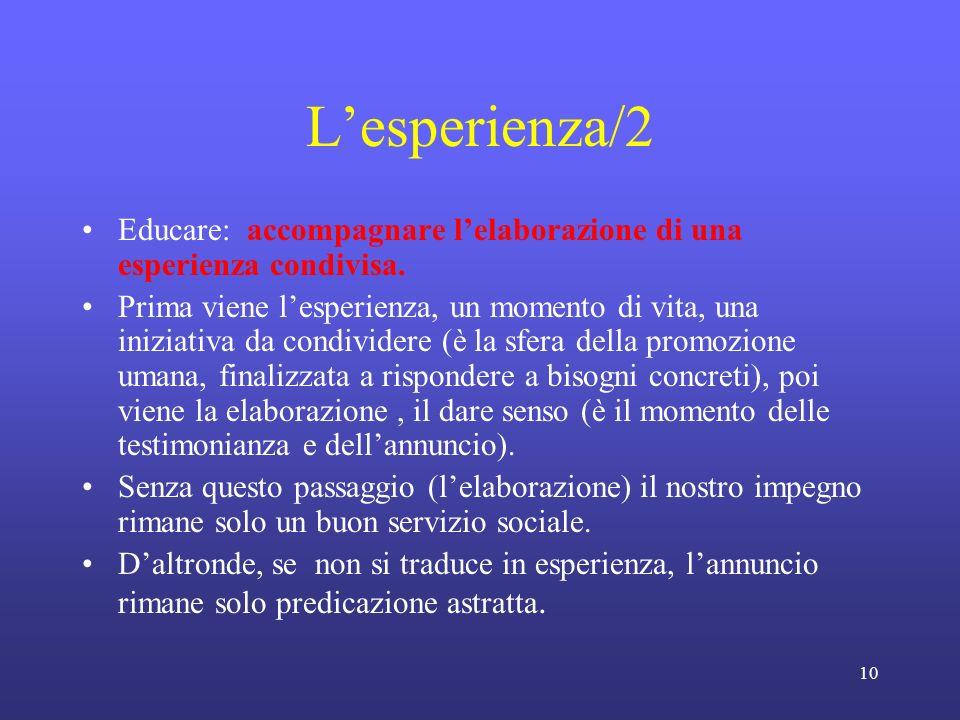 10 Lesperienza/2 Educare: accompagnare lelaborazione di una esperienza condivisa.