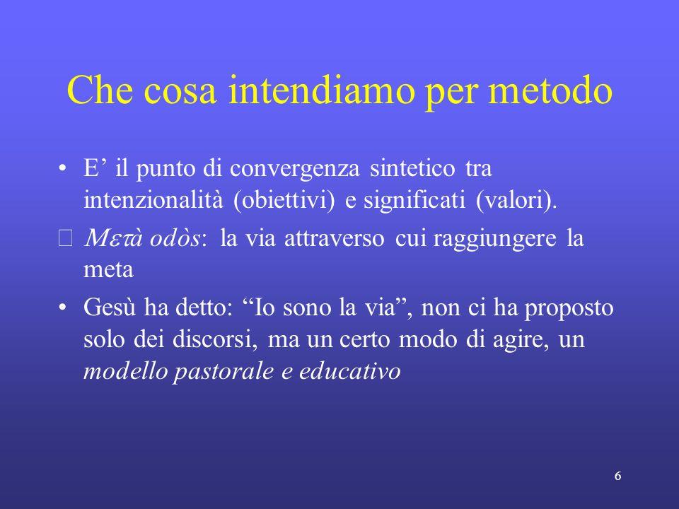 6 Che cosa intendiamo per metodo E il punto di convergenza sintetico tra intenzionalità (obiettivi) e significati (valori).