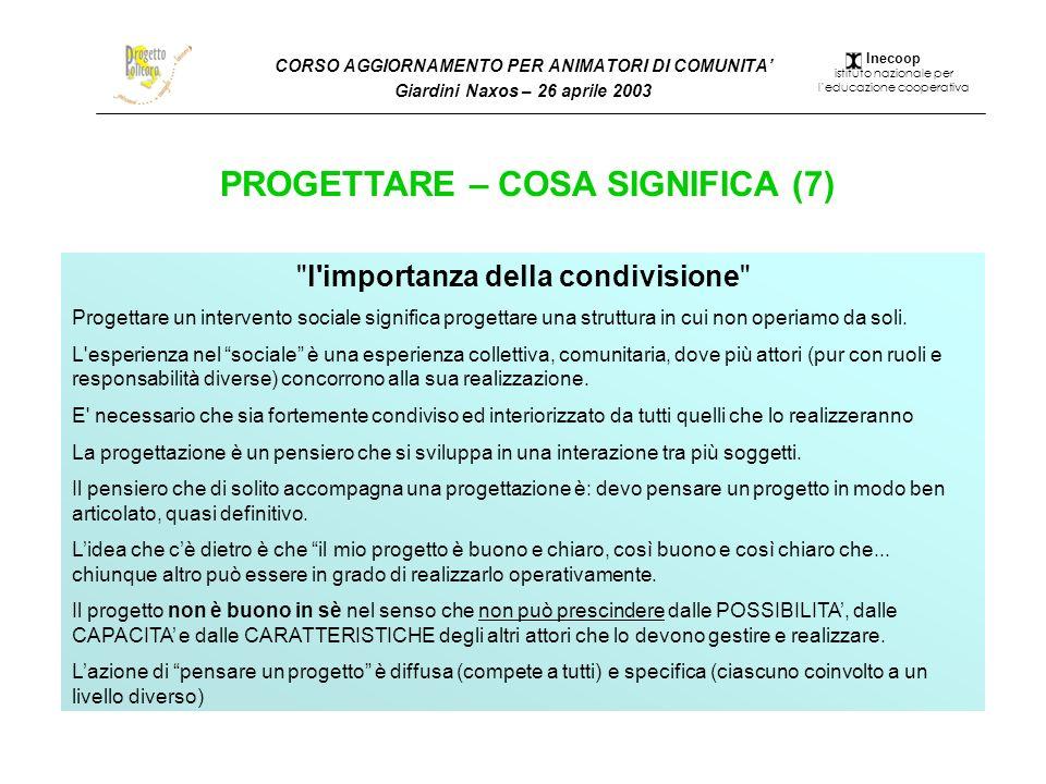 CORSO AGGIORNAMENTO PER ANIMATORI DI COMUNITA Giardini Naxos – 26 aprile 2003 PROGETTARE – COSA SIGNIFICA (7)