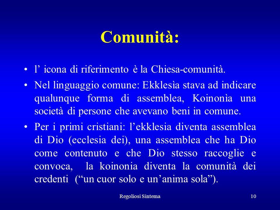 Regoliosi Sintema10 Comunità: l icona di riferimento è la Chiesa-comunità. Nel linguaggio comune: Ekklesìa stava ad indicare qualunque forma di assemb