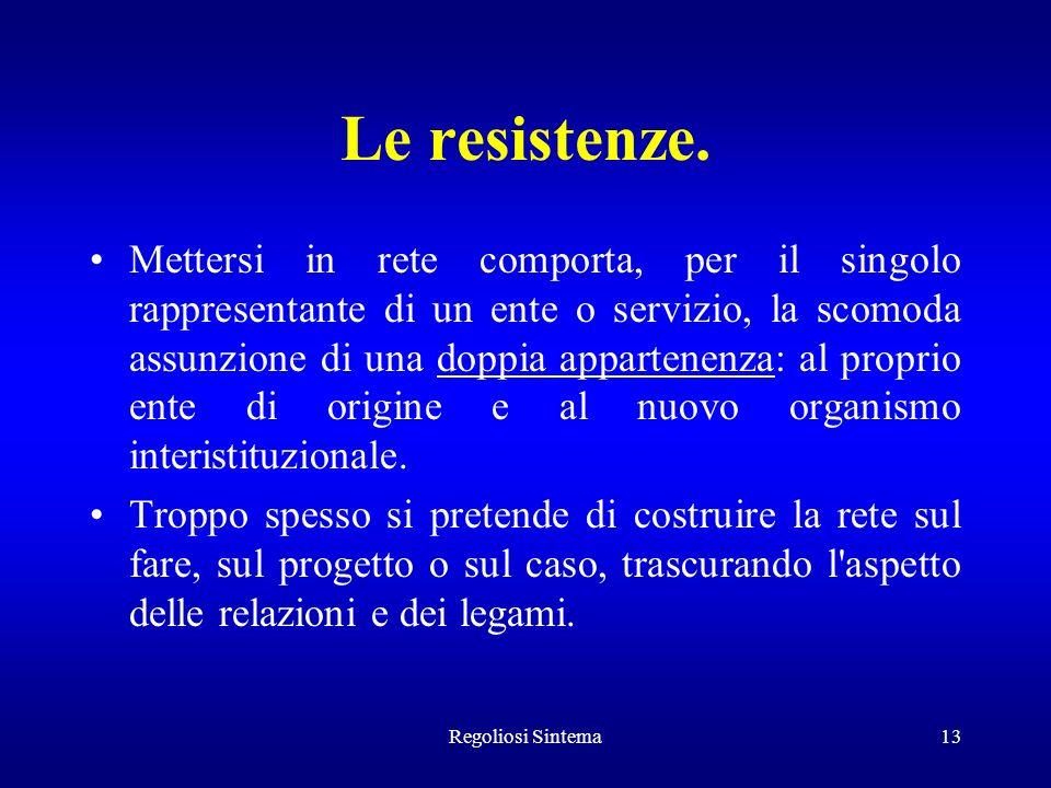 Regoliosi Sintema13 Le resistenze. Mettersi in rete comporta, per il singolo rappresentante di un ente o servizio, la scomoda assunzione di una doppia