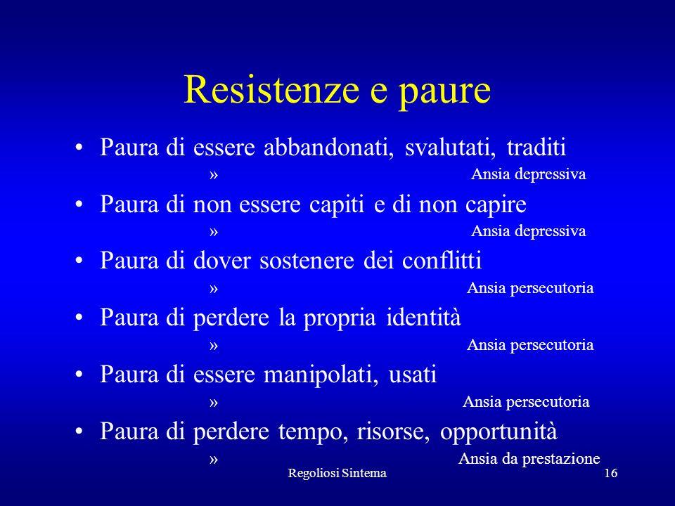 Regoliosi Sintema16 Resistenze e paure Paura di essere abbandonati, svalutati, traditi » Ansia depressiva Paura di non essere capiti e di non capire »