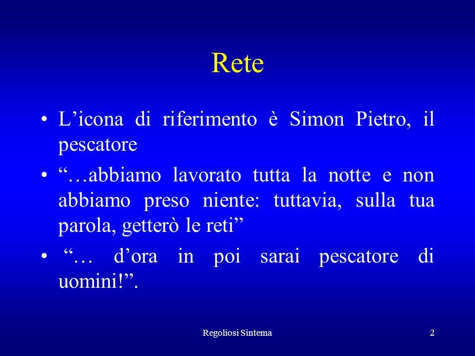 Regoliosi Sintema2 Rete Licona di riferimento è Simon Pietro, il pescatore …abbiamo lavorato tutta la notte e non abbiamo preso niente: tuttavia, sull