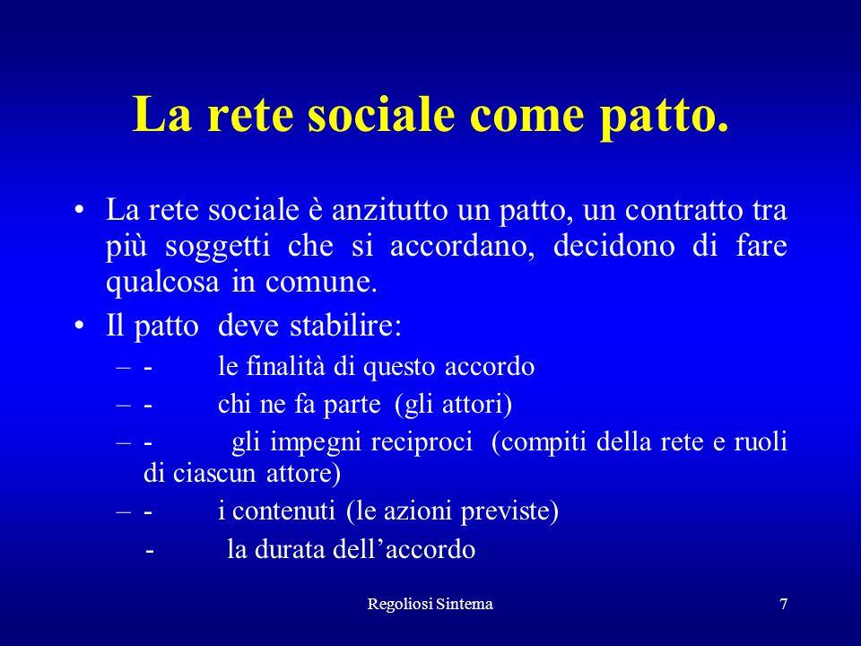 Regoliosi Sintema7 La rete sociale come patto. La rete sociale è anzitutto un patto, un contratto tra più soggetti che si accordano, decidono di fare