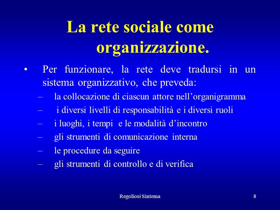 Regoliosi Sintema8 La rete sociale come organizzazione. Per funzionare, la rete deve tradursi in un sistema organizzativo, che preveda: –la collocazio
