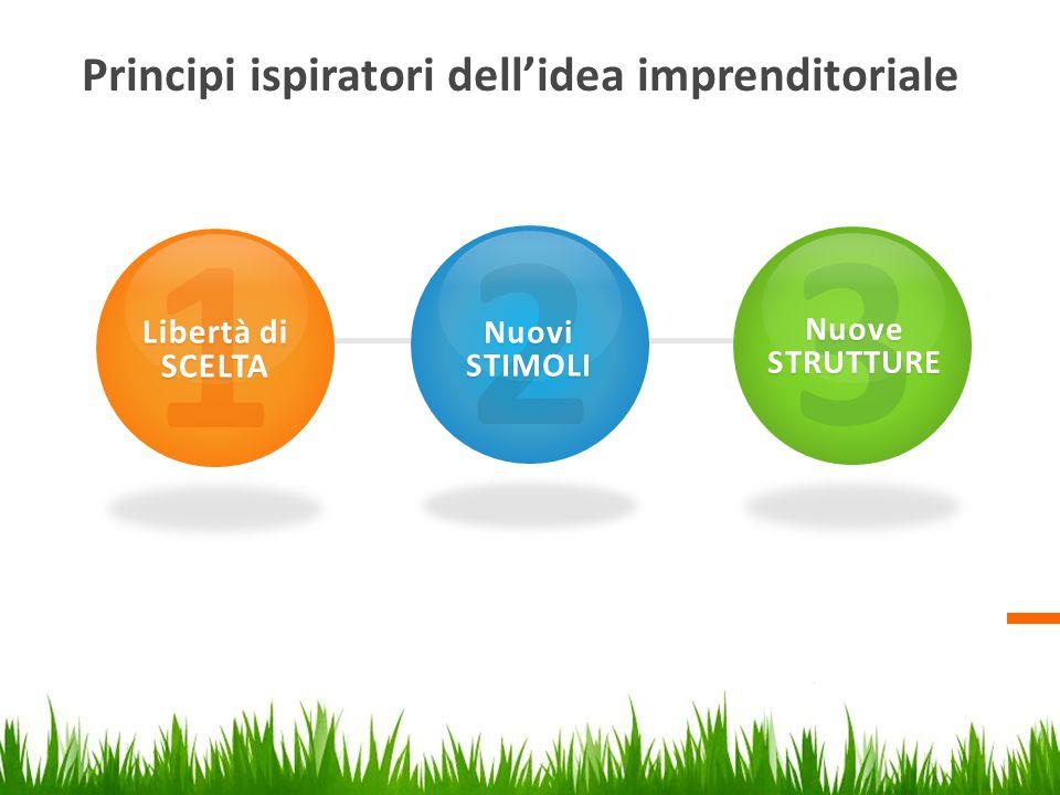 Principi ispiratori dellidea imprenditoriale 1 Libertà di SCELTA 2 Nuovi STIMOLI 3 Nuove STRUTTURE