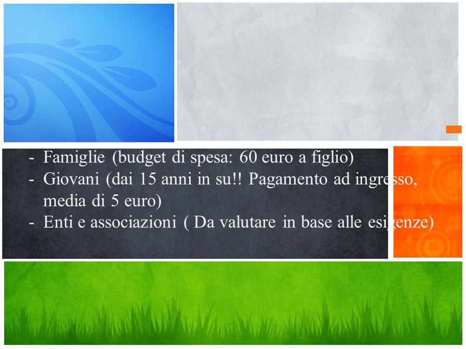 Qual è il messaggio? -Famiglie (budget di spesa: 60 euro a figlio) -Giovani (dai 15 anni in su!! Pagamento ad ingresso, media di 5 euro) -Enti e assoc