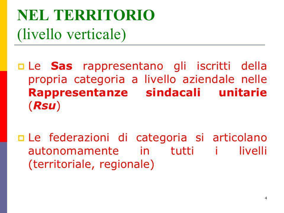 4 NEL TERRITORIO (livello verticale) Le Sas rappresentano gli iscritti della propria categoria a livello aziendale nelle Rappresentanze sindacali unit