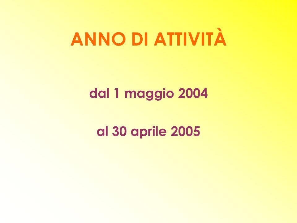 ANNO DI ATTIVITÀ dal 1 maggio 2004 al 30 aprile 2005