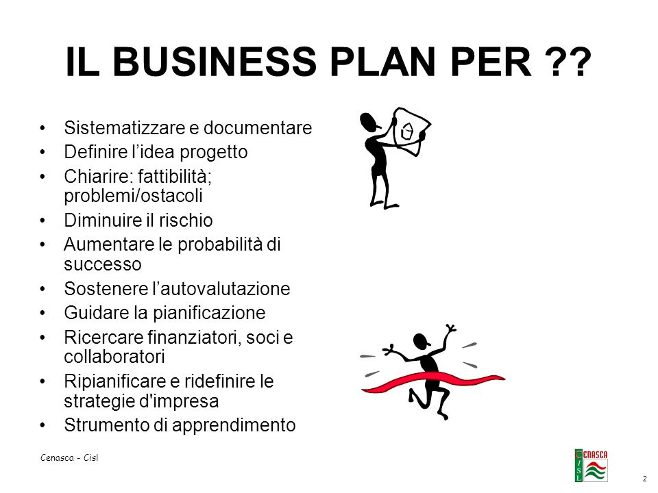 2 Cenasca - Cisl IL BUSINESS PLAN PER .