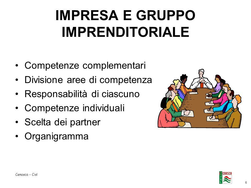 5 Cenasca - Cisl IMPRESA E GRUPPO IMPRENDITORIALE Competenze complementari Divisione aree di competenza Responsabilità di ciascuno Competenze individuali Scelta dei partner Organigramma