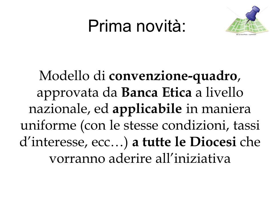 Prima novità: Modello di convenzione-quadro, approvata da Banca Etica a livello nazionale, ed applicabile in maniera uniforme (con le stesse condizioni, tassi dinteresse, ecc…) a tutte le Diocesi che vorranno aderire alliniziativa