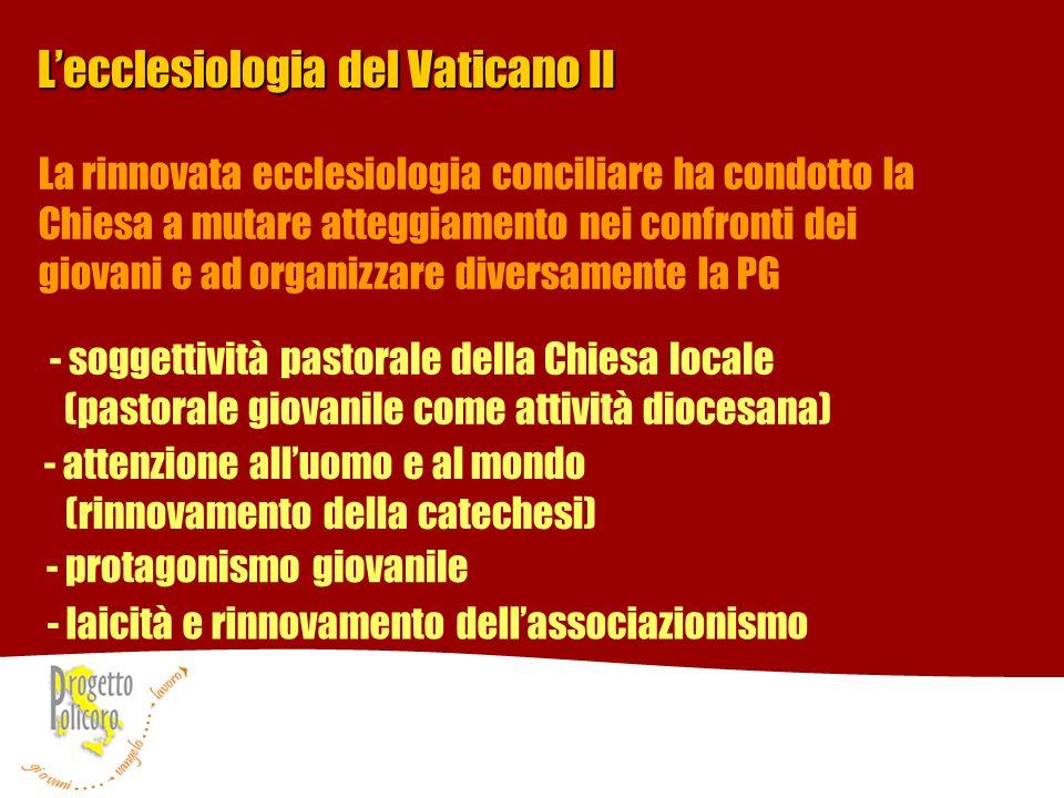 Lecclesiologia del Vaticano II - soggettività pastorale della Chiesa locale (pastorale giovanile come attività diocesana) - attenzione alluomo e al mo