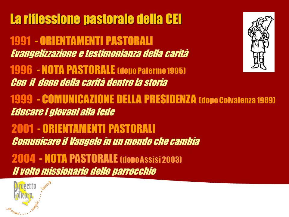 La riflessione pastorale della CEI 1991 - ORIENTAMENTI PASTORALI Evangelizzazione e testimonianza della carità 1996 - NOTA PASTORALE (dopo Palermo 199