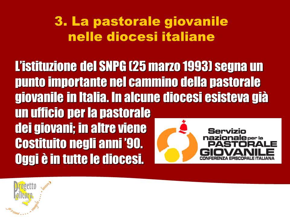 3. La pastorale giovanile nelle diocesi italiane Listituzione del SNPG (25 marzo 1993) segna un punto importante nel cammino della pastorale giovanile