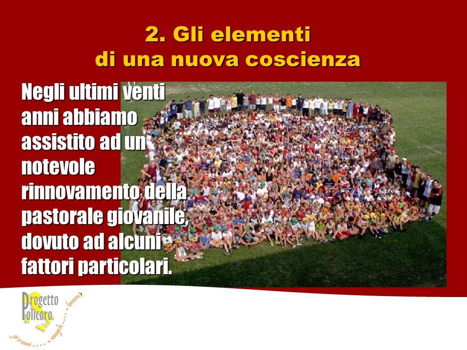 2. Gli elementi di una nuova coscienza Negli ultimi venti anni abbiamo assistito ad un notevole rinnovamento della pastorale giovanile, dovuto ad alcu