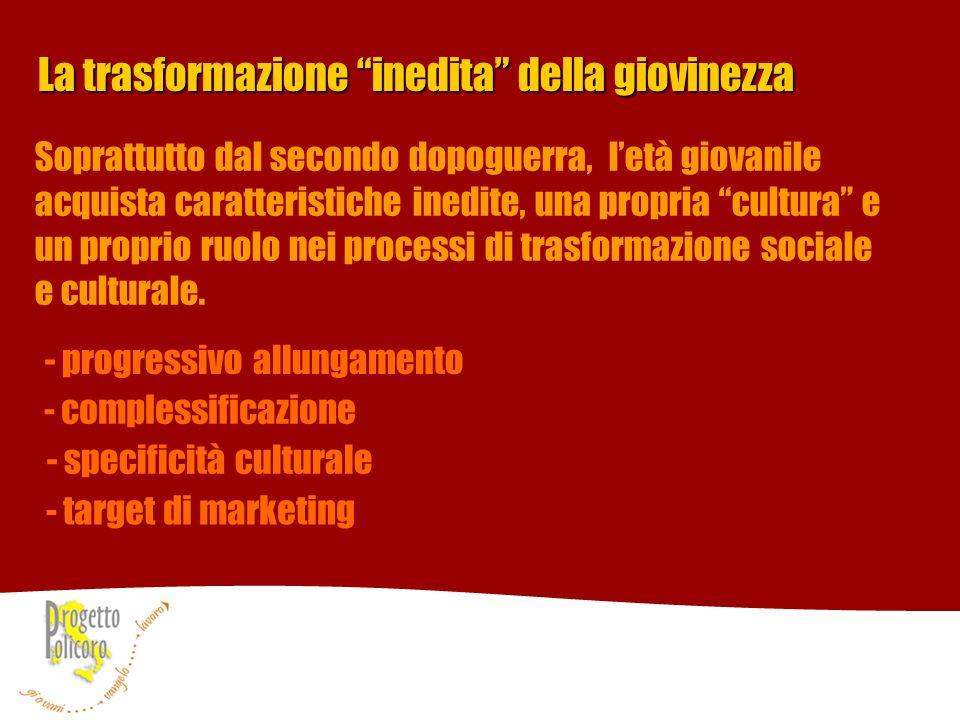 La trasformazione inedita della giovinezza - progressivo allungamento - complessificazione - specificità culturale - target di marketing Soprattutto d