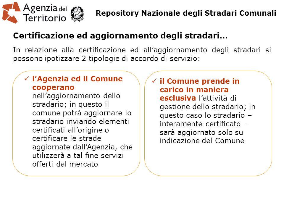 In relazione alla certificazione ed allaggiornamento degli stradari si possono ipotizzare 2 tipologie di accordo di servizio: lAgenzia ed il Comune co
