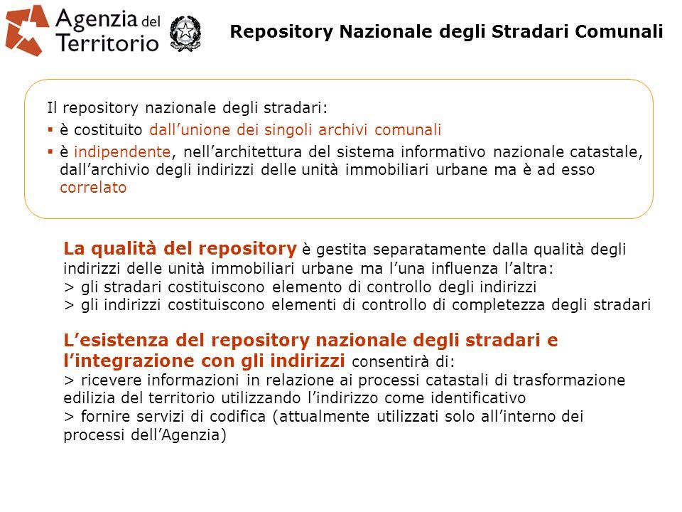 Il repository nazionale degli stradari: è costituito dallunione dei singoli archivi comunali è indipendente, nellarchitettura del sistema informativo