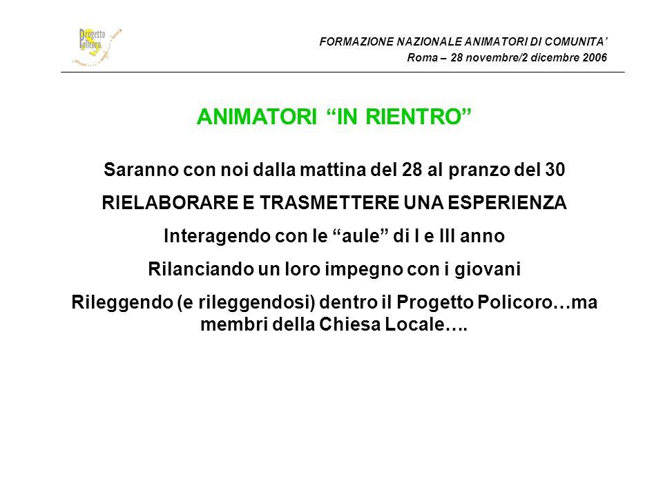 FORMAZIONE NAZIONALE ANIMATORI DI COMUNITA Roma – 28 novembre/2 dicembre 2006 ANIMATORI IN RIENTRO Saranno con noi dalla mattina del 28 al pranzo del