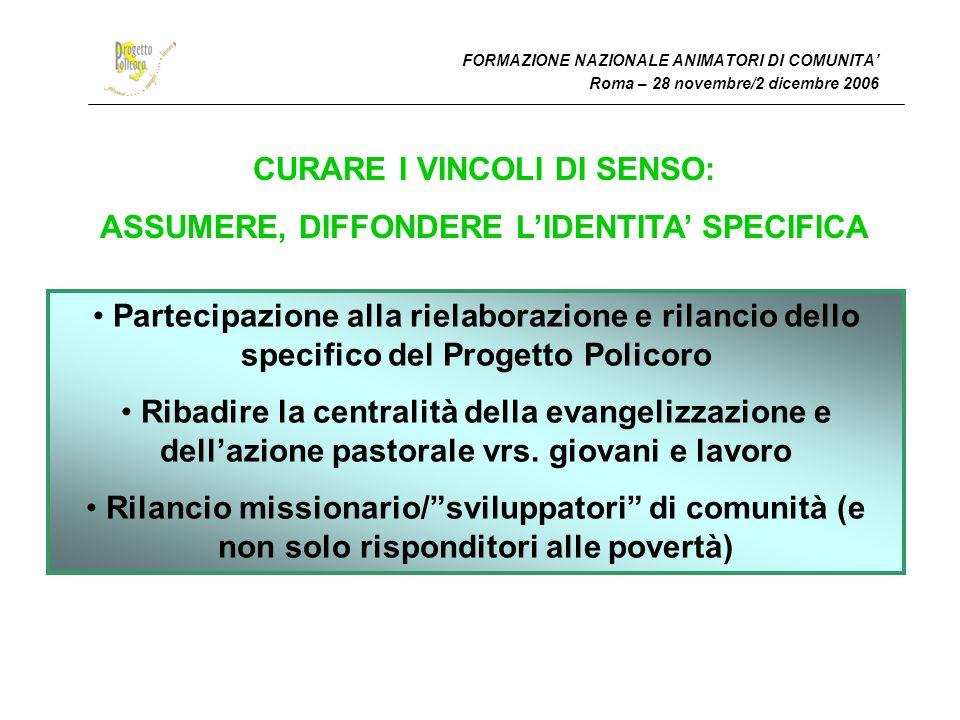FORMAZIONE NAZIONALE ANIMATORI DI COMUNITA Roma – 28 novembre/2 dicembre 2006 CURARE I VINCOLI DI SENSO: ASSUMERE, DIFFONDERE LIDENTITA SPECIFICA Part